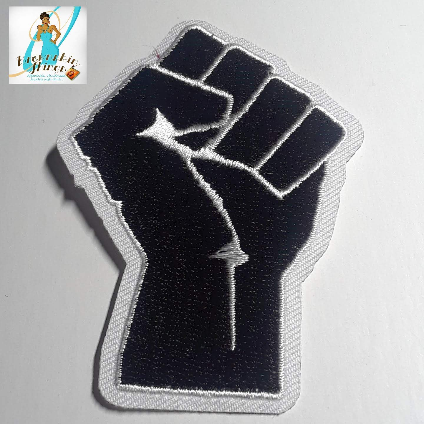 Fist Up Patch 3.75x2.75 Iron On Embroidery DIY Afrocentric Patches