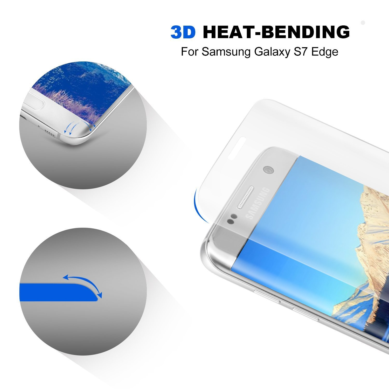 Amazon Galaxy S7 Edge Screen Protector Galaxy S7 Edge Glass Screen Protector Samsung Galaxy S7 Edge Screen Protector Carryberry [3D Full Curved Edge]