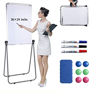 Scool Stand White Board, Double Sided Magnetic Dry Erase Board Portable Whiteboard 36 24 inch, Perfect for Classroom, Preschool, Homeschool, Restaurant and Presentation