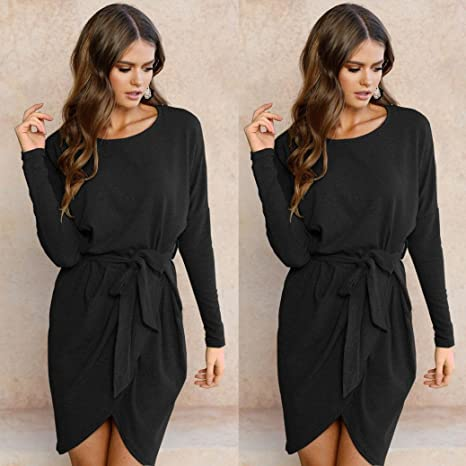 fdd45bf1eec WensLTD Women s Long Sleeve Loose Casual Wrapped Mini Dress With Belt (XXL