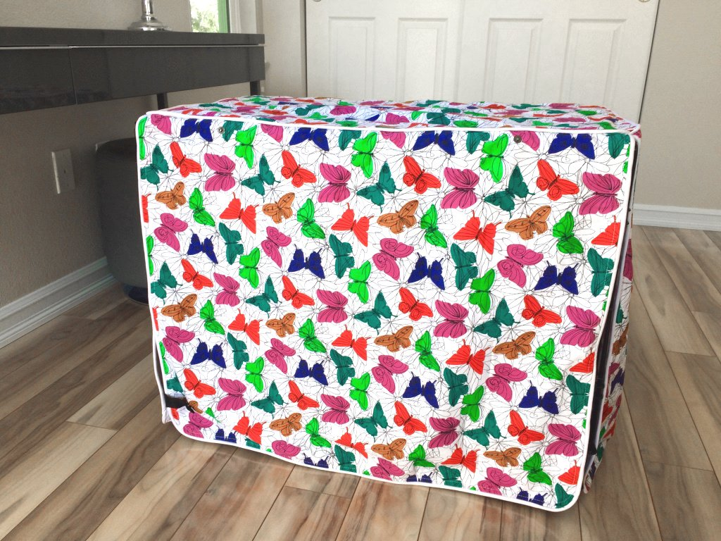Multicolor Butterfly Dog Pet Wire Kennel Crate Cage House Cover (Small, Medium, Large, XL) (XL 42x28x31 inch)