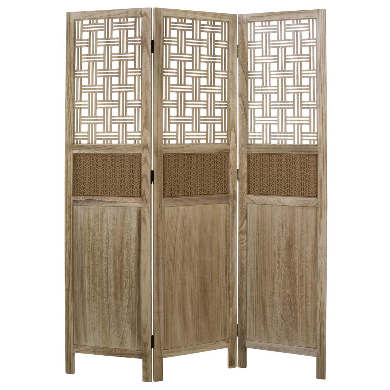 homestyle4u 1825 paravent paravent paravent raumteiler 3 teilig kiefer holz mit ornamente braun natur 170 cm 196c2b