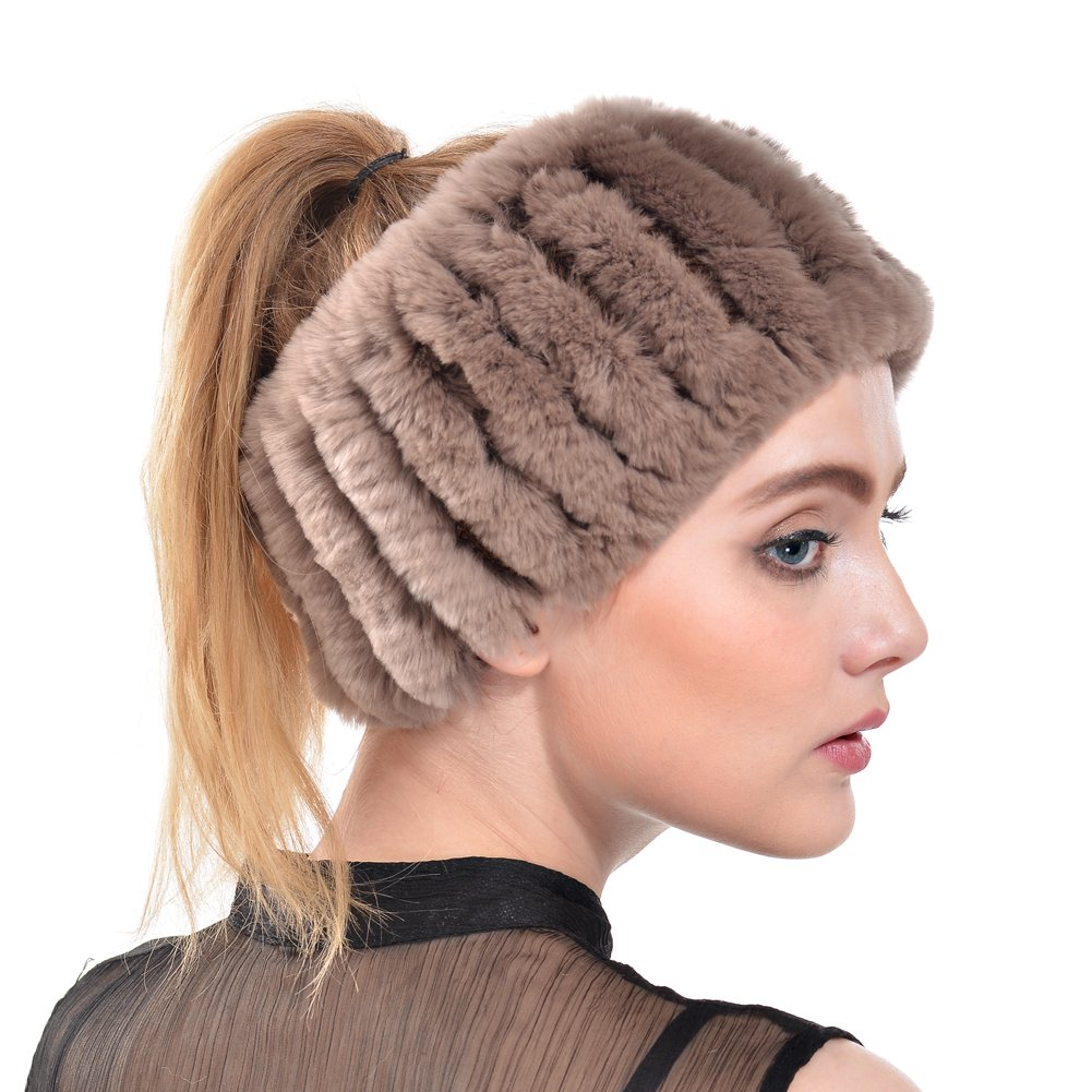 Rabbit Fur Headband - Winter Knit Neck Warmer Real Fur Headbands Women Scarf Muffler QFSR16045BW