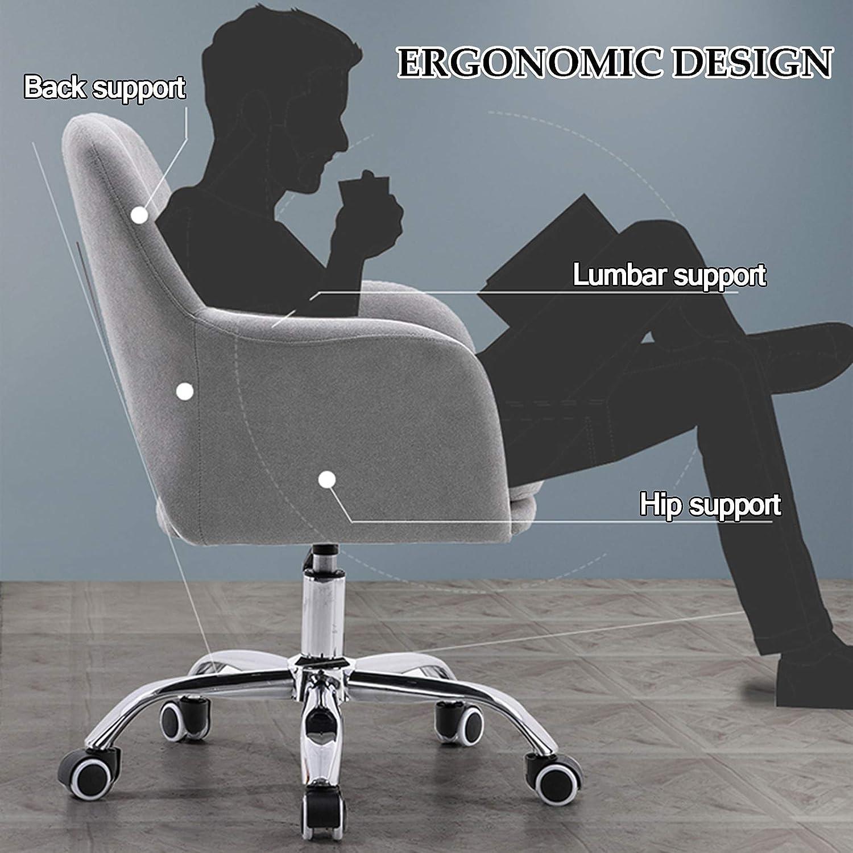 LIYIN Modern svängbar accentstol sammet mitt på baksidan kontorsstol ergonomisk skrivbordsstol med 360 graders hjulhjul (justerbar höjd) Rosa