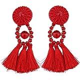 SaiDeng Women Vintage Statement Drop Long Earrings Bohemian Crystal Tassel Earrings
