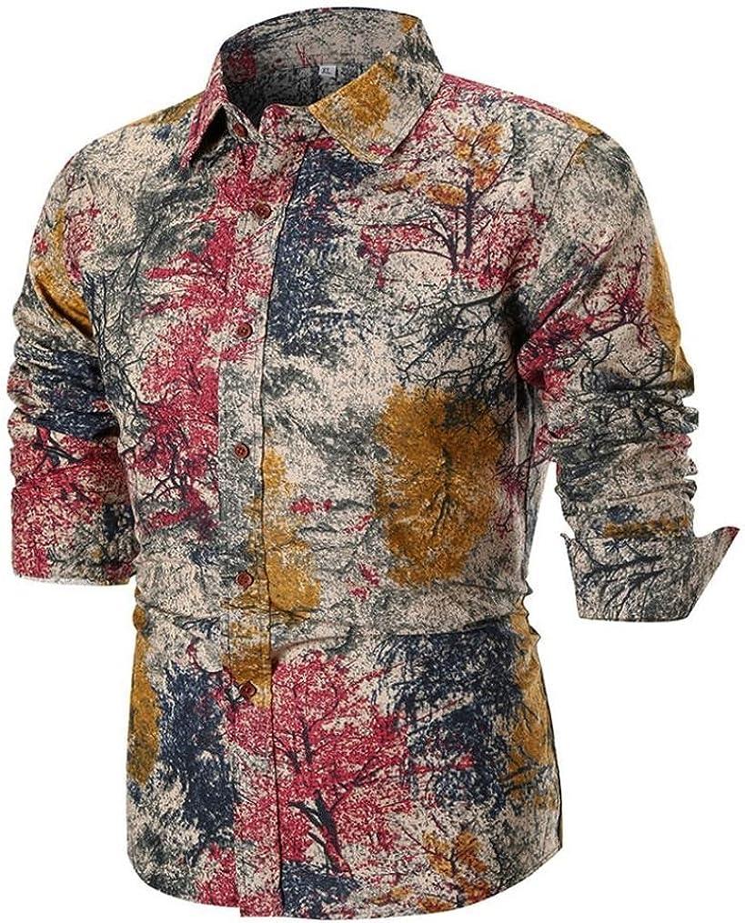 Yvelands Moda Hombre Guapa Solapa Casual Camisa Impresa Slim Fit Vestido Desplegable Deporte Top Blusa Fiesta Boda Vacaciones en la Playa, Liquidación (Caqui, XL): Amazon.es: Ropa y accesorios