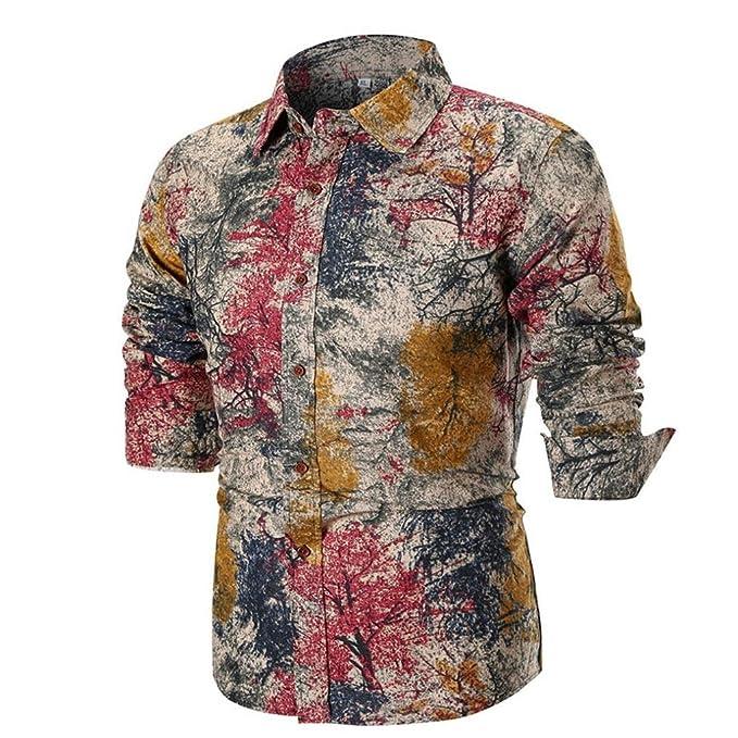 Yvelands Moda Hombre Guapa Solapa Casual Camisa Impresa Slim Fit Vestido Desplegable Deporte Top Blusa Fiesta Boda Vacaciones en la Playa, ...