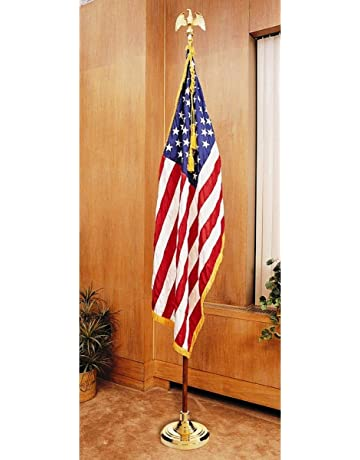 c56b51d76206 US Flag Factory 8 FT American Flag Indoor Set with Wood Pole - Complete  Presentation Set