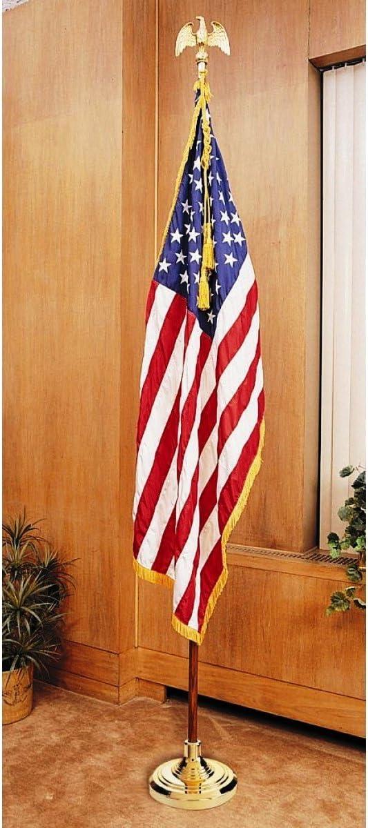 US Flag Factory 7 FT American Flag Indoor Set with Wood Pole - Complete Presentation Set