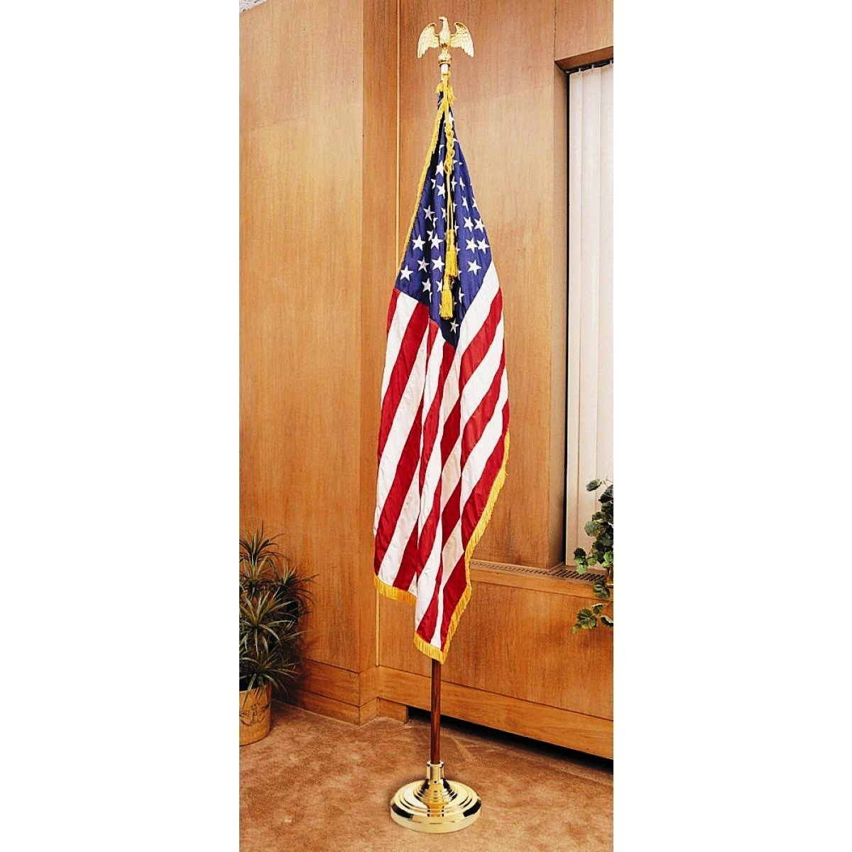 US Flag Factory 8' American Flag Indoor Set with Wood Pole - Complete Presentation Set