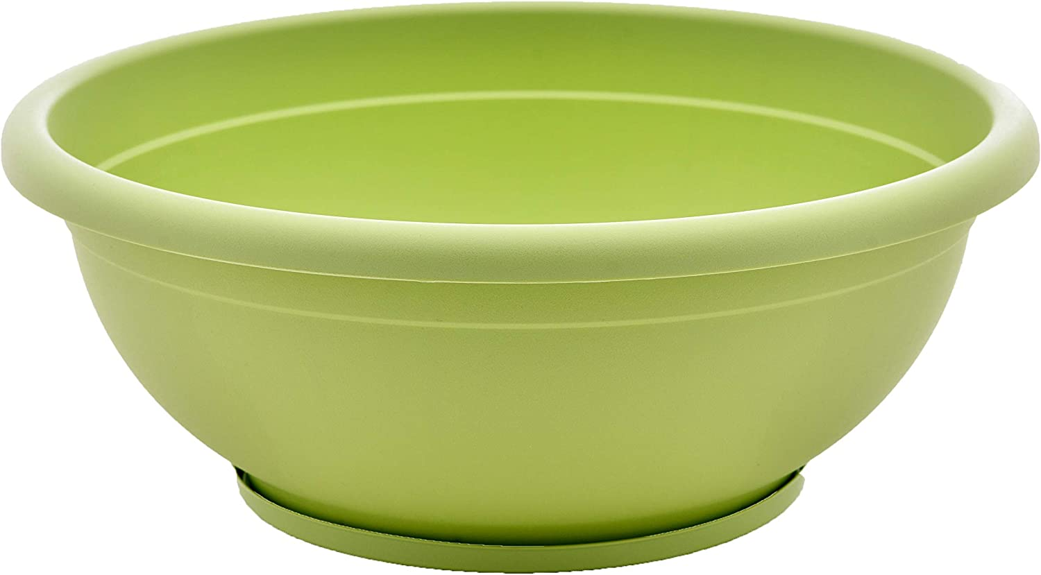 TABOR TOOLS VEN308 Plastic Planter Bowl, Garden Bowl with Attached Drainage Tray, for Indoor and Outdoor Use, Round Ø 12 Inch (Color: Pastel Green)