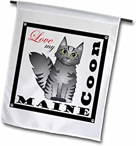 3dRose fl_35520_1 Love My Maine Coon Cat Silver Tabby Garden Flag, 12 by 18-Inch