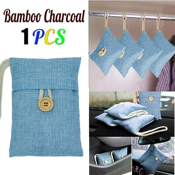 ... TINGSU, 1 bolsa de carbón activado de bambú para coche, ambientador de carbón activado, desodorante de olor (azul) azul azul: Amazon.es: Bebé