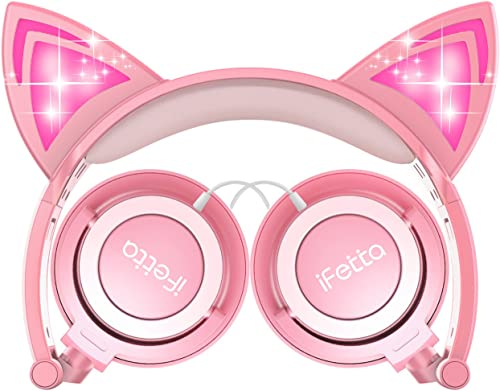 Kids Headphones Cat Ear Support 3.5 mm Audio Jack Headset, 85dB Volume Limited Cute On Ear Headphones Peach