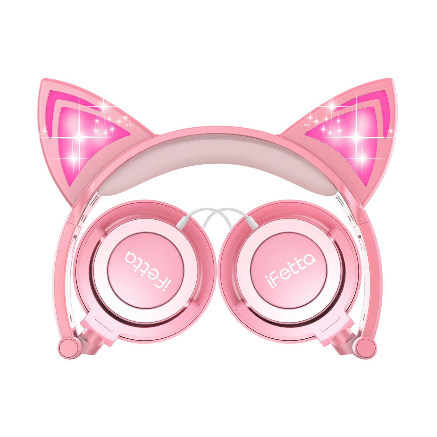 Kids Headphones, Ifecco Cat Ear Headphones Light Glowing Over Ear Headset Pink for Girls with 3.5mm Audio Cable