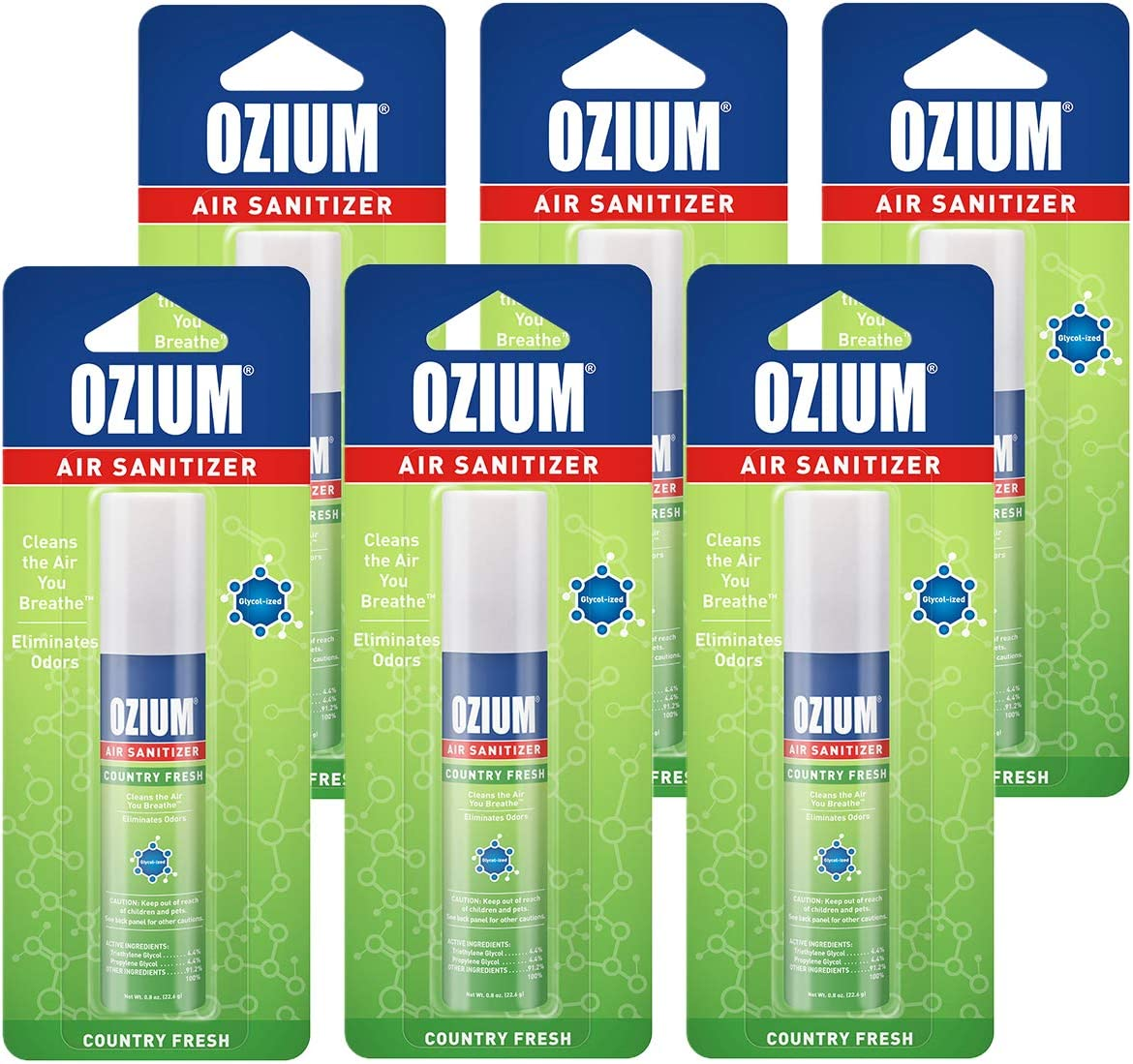 Ozium 0.8 oz. Air Sanitizer & Odor Eliminator for Homes, Cars, Offices and More, Country Fresh, 6-Pack