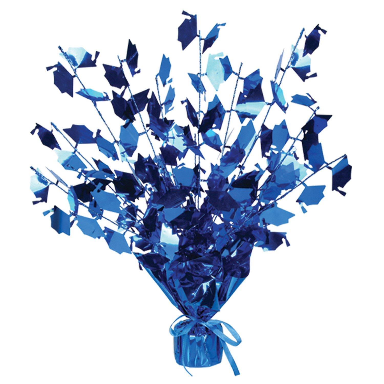 Graduation Cap Gleam 'N Burst Centerpiece Party Accessory (Blue, pkg of 12) by Beistle (Image #1)