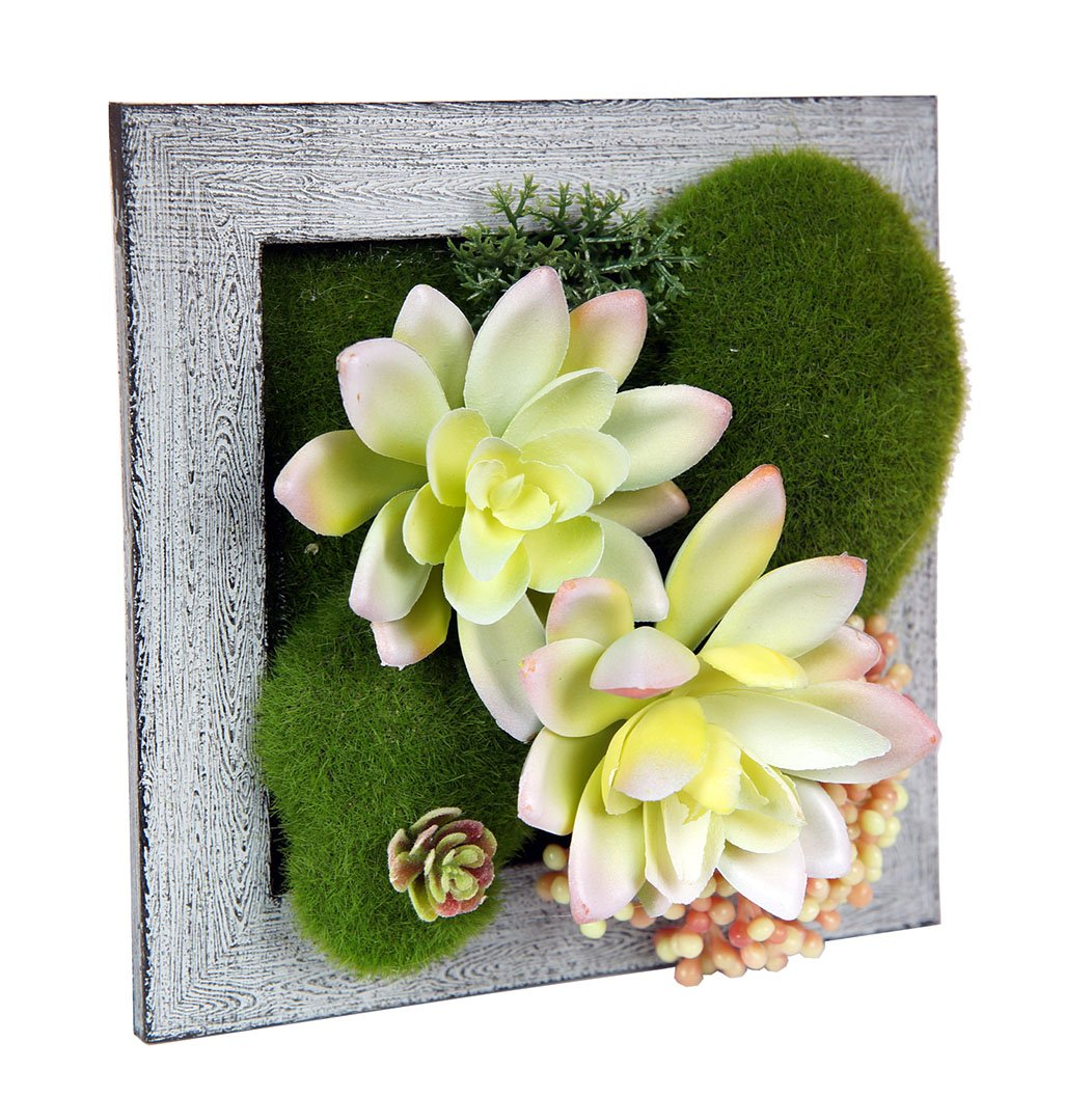 Kumii 3D Artificial Flowers With Wood Frame and Wall Hanging, Tabletop Frame Decor and Art Wall Decor (Small Square Gray For Wall Only)