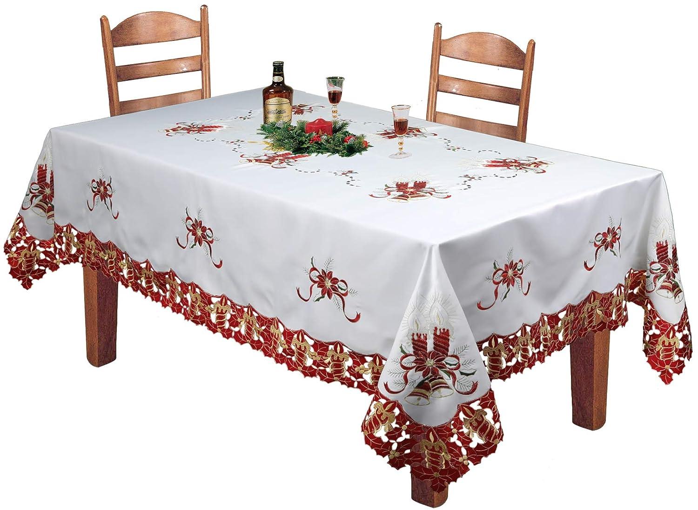 クリエイティブリネンHolidayクリスマス刺繍レッドポインセチアCandleベルプレースマットテーブルランナートッパーテーブルクロスナプキンホワイトレッドのさまざまなサイズ 70x120