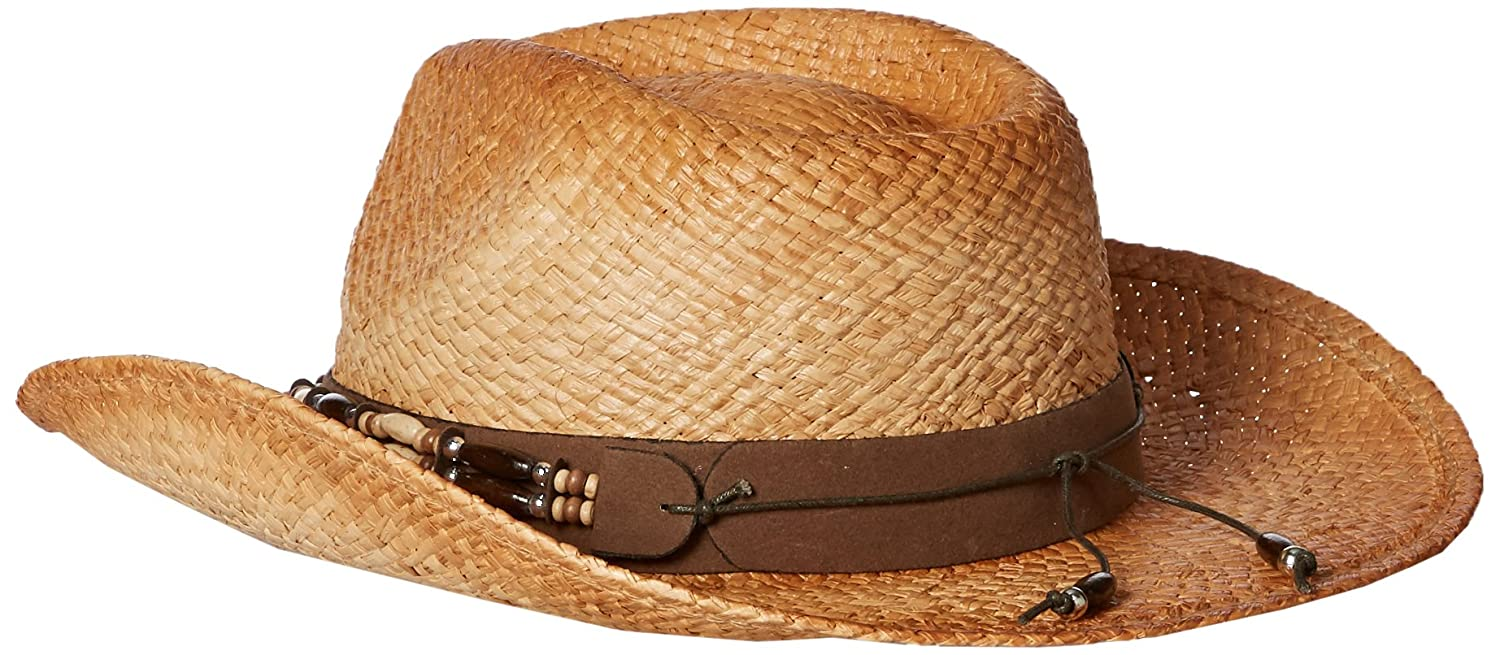 Henschel Burnished Raffia Western Straw Hat with Turquoise Concho