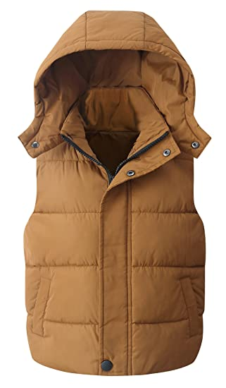 16bf36ce3ab Happy Cherry Kids Boys Girls Gilets Toddlers Warm Winter Down Coat Hooded  Jackets Vest Outerwear Caramel