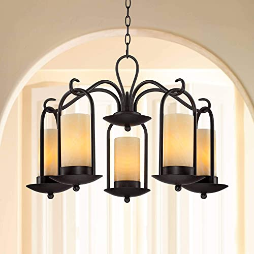 Espresso Indoor Outdoor Chandelier 30 Wide Onyx Faux Stone Candles Glass 5-Light Fixture for Dining Room House Foyer Kitchen Island Entryway Bedroom Living Room – Franklin Iron Works