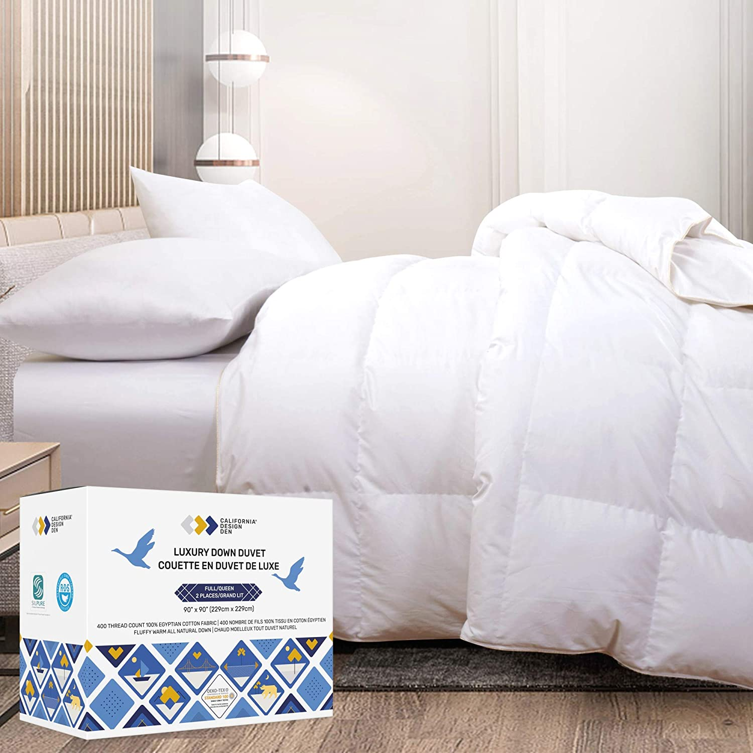 All-Season White Down Comforter - Super Soft & Fluffy, Breathable 100% Pure Egyptian Cotton Shell, 54 OZ Fill Weight, 650+ Fill Power Medium Weight, Premium Quality Washable Duvet Insert - King Size