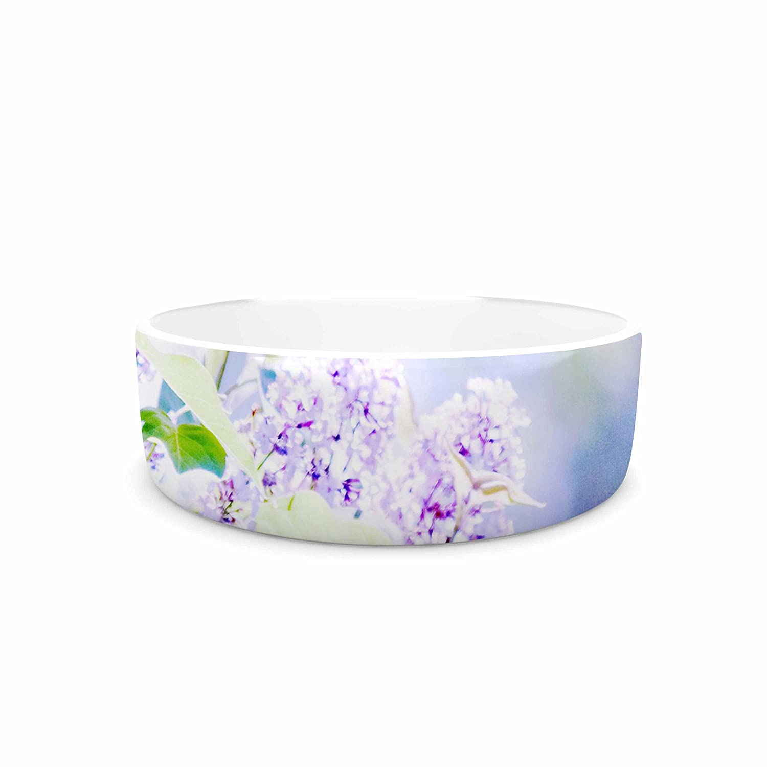 KESS InHouse Sylvia Coomes Hazy Purple Flowers  Lavender Nature Pet Bowl, 4.75