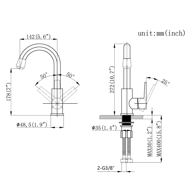 Homelody Chrom Drehbar 360° Mischbatterie Waschbeckenarmatur