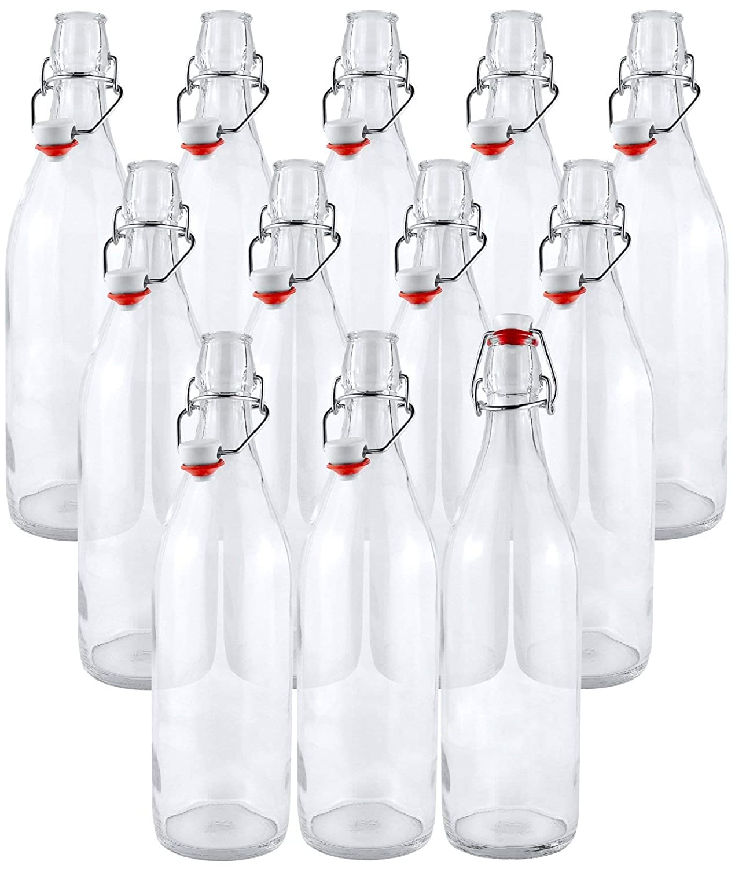 Estilo Swing Top Easy Cap Clear Glass Beer Bottles, Round, 16 oz, Set of 12 EST2654