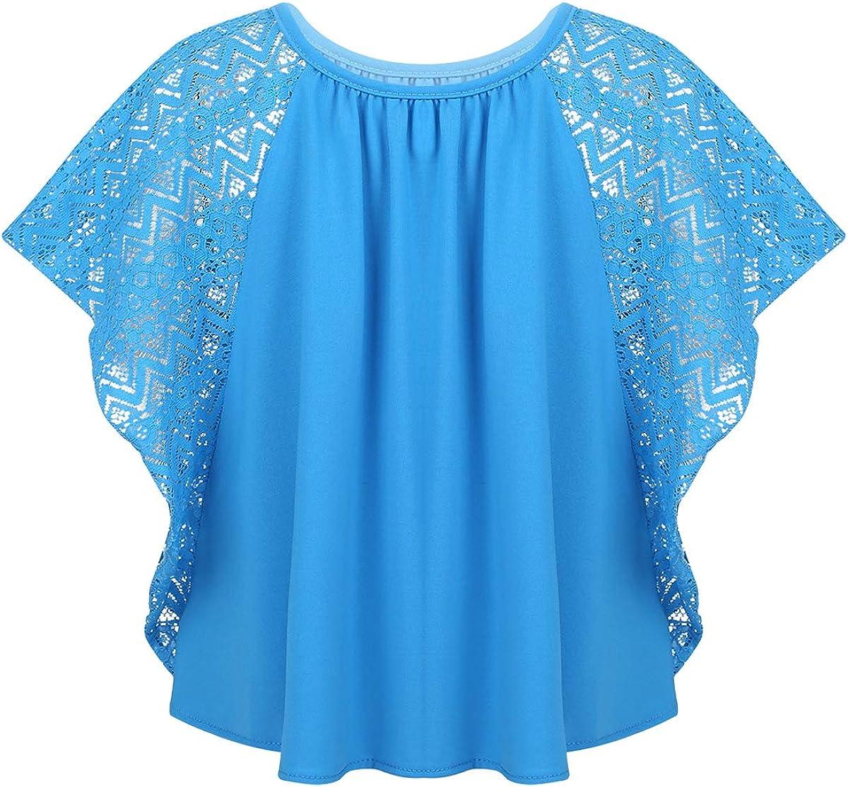Agoky M/ädchen Fledermaus Batwing Bluse Falten Tunika T-Shirt Top Bluse Kurzarm Rundhals Sommer Shirts Casual Loose Fit