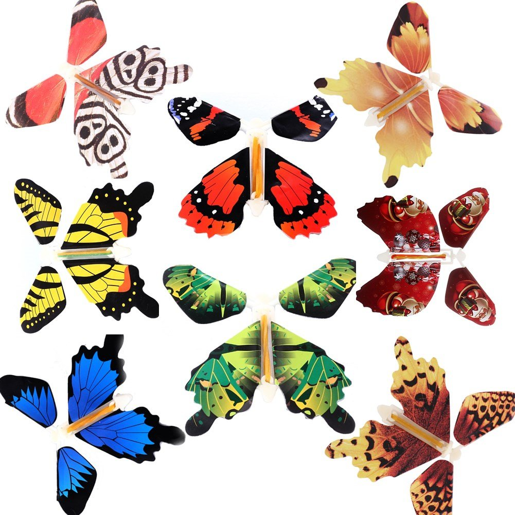 Magic Flying Butterfly Flies From Cards Letters Books Gifts and Flowers Surprise 8 Pcs Set