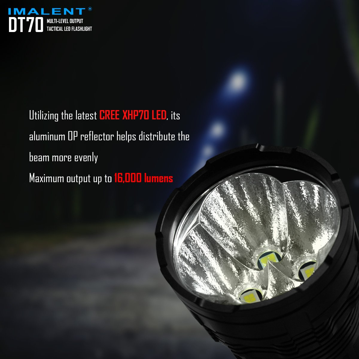 IMALENT DT70 Flashlights High Lumens Rechargeable 16000 Lumens 4 Pcs CREE XHP70 LEDs, Portable Handheld Torch by IMALENT (Image #6)