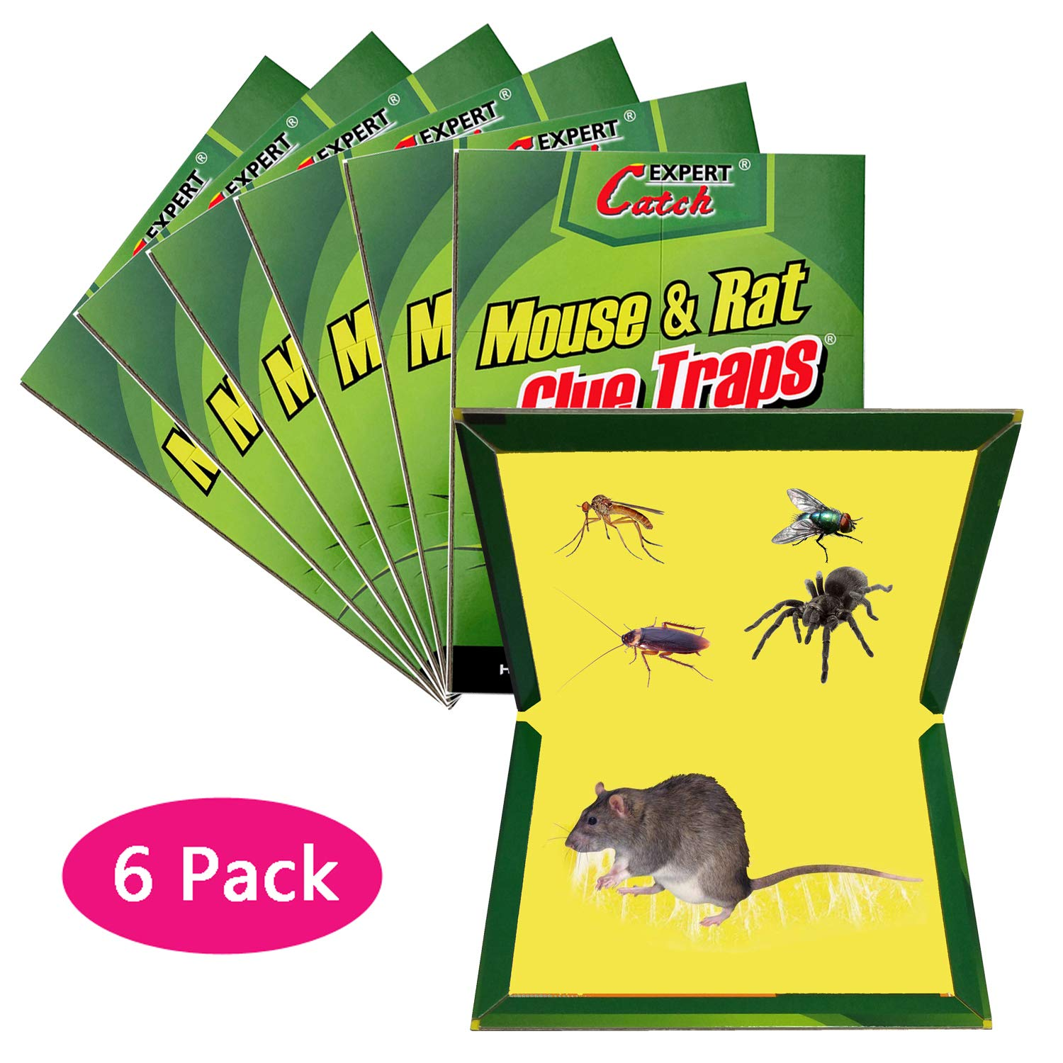 WAIWAI Mouse Glue Trap, 6 Pack Mouse Rat Glue Traps, New Version Strongly Adhesive, Mouse Traps Glue Boards for Mice Cockroach Ant Spider by WAIWAI