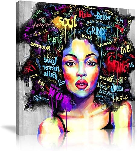 AMEMNY African American Women Canvas 4 Panels Print Art African Wall Art Black Girl Wall Art Photos Wall Decor