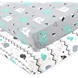Stretchy Fitted Crib Sheets Set-Brolex 2 Pack Portable Crib Mattress Topper for Baby Boys Girls,Ultra Soft Jersey,Full Standa
