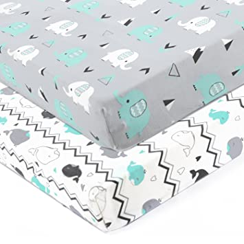 Amazon Com Stretchy Fitted Crib Sheets Set Brolex 2 Pack Portable