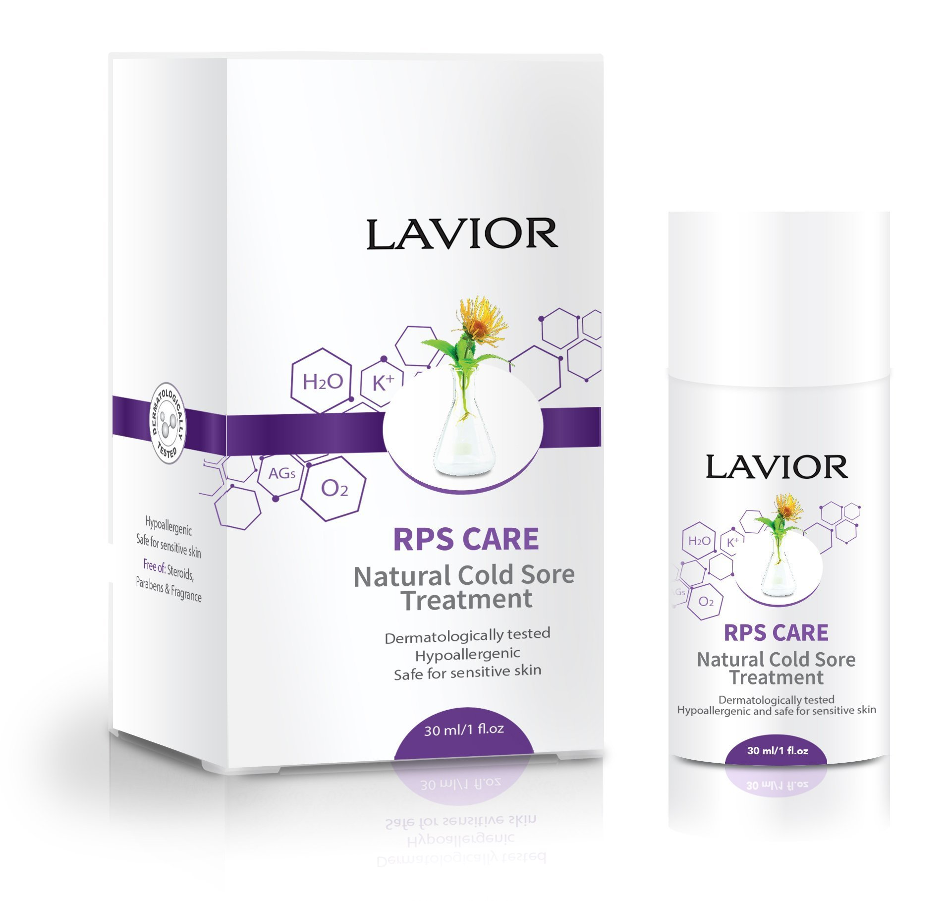 LAVIOR RPS Care Natural Herpes, Cold Sore & Fever Blister Treatment 1 oz - Antiviral - Clinically Proven & Dr. Recommended