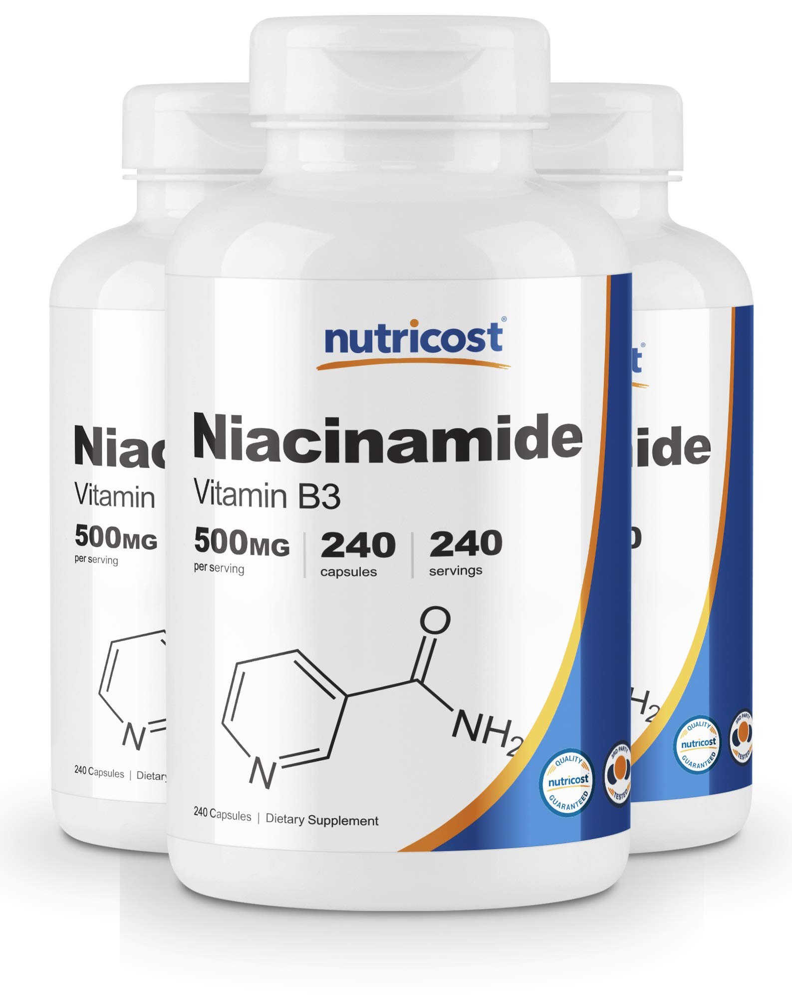 Nutricost Niacinamide (Vitamin B3) 500mg, 240 Capsules (3 Bottles) by Nutricost