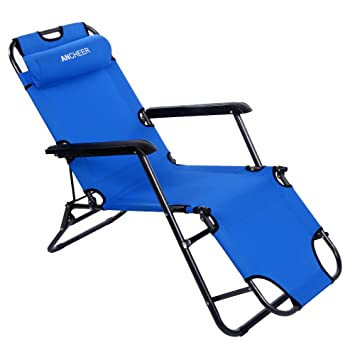 Ancheer Outdoor Lounge Chaise Beach Recliner Patio Chair With Steel  Construction And 600D Breathable Polyester Fabric