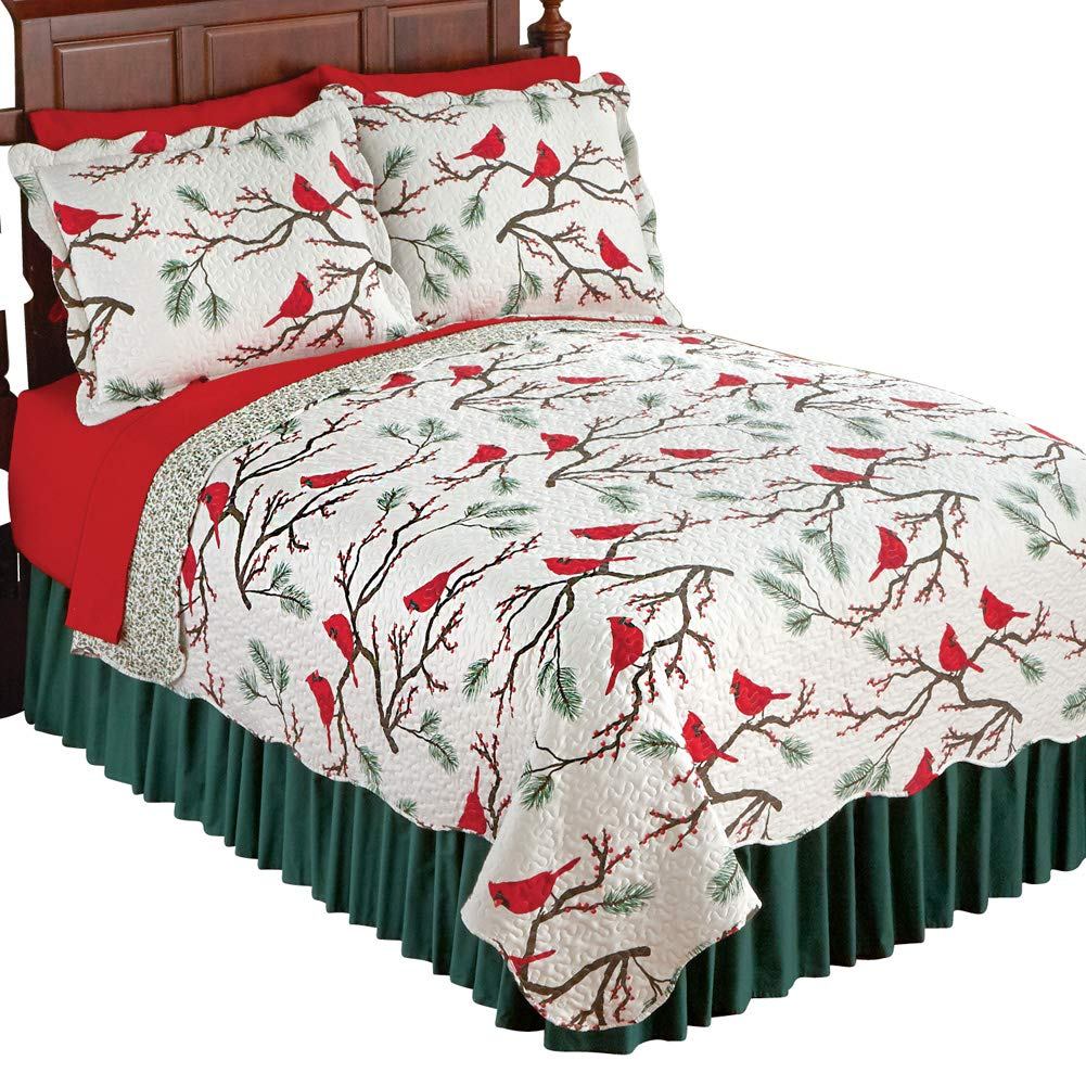 reversible christmas quilts with cardinals pattern for king size scallop edge 804035232173 ebay. Black Bedroom Furniture Sets. Home Design Ideas