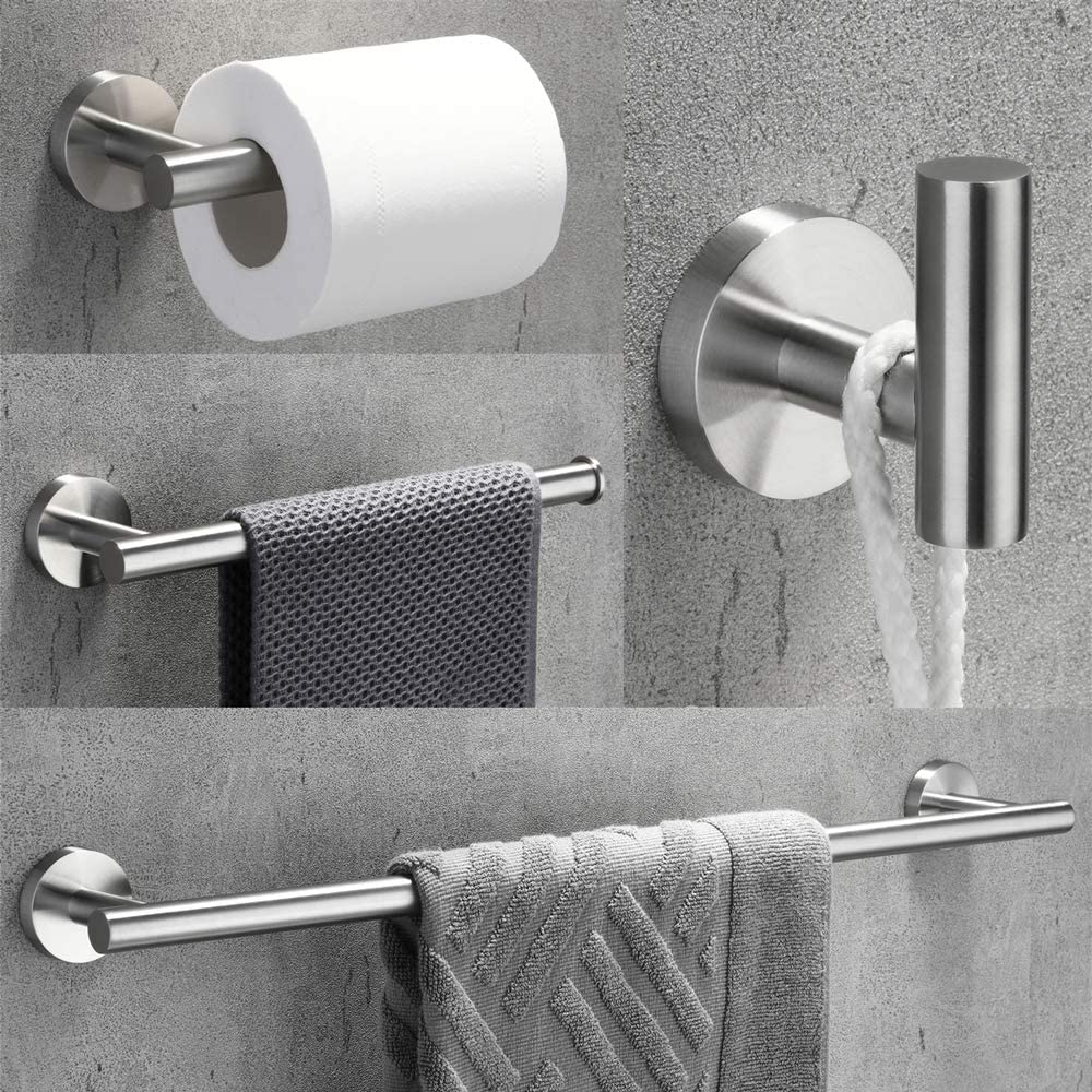 Towel Bars 16 Inch Brushed Finish Velimax 18 8 Stainless Steel 4 Piece Bathroom Hardware Set Modern Round Towel Bars Wall Mounted Bathroom Fixtures Kit Home Kitchen Smkbinaputracihampelas Sch Id