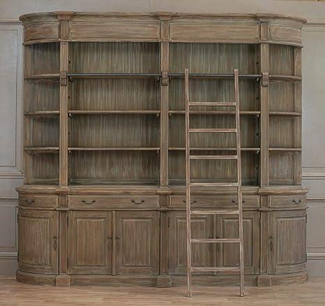 Librerie Con Scala Scorrevole In Legno.Sconosciuto Libreria In Legno Con Scaletta Extra Large Stunning