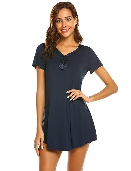 Skylin Women Classic Robes Sleepwear Button-Down Soft Sleep T-Shirt Dress ( Dark 46832d76c