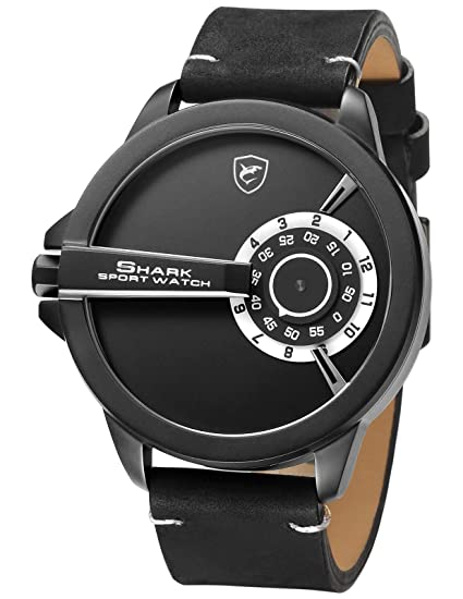 6a5682ee5 Shark Sport Watch, Leather Band Unique Turntable Dial No Hand Design Men's  Analog Quartz XXL