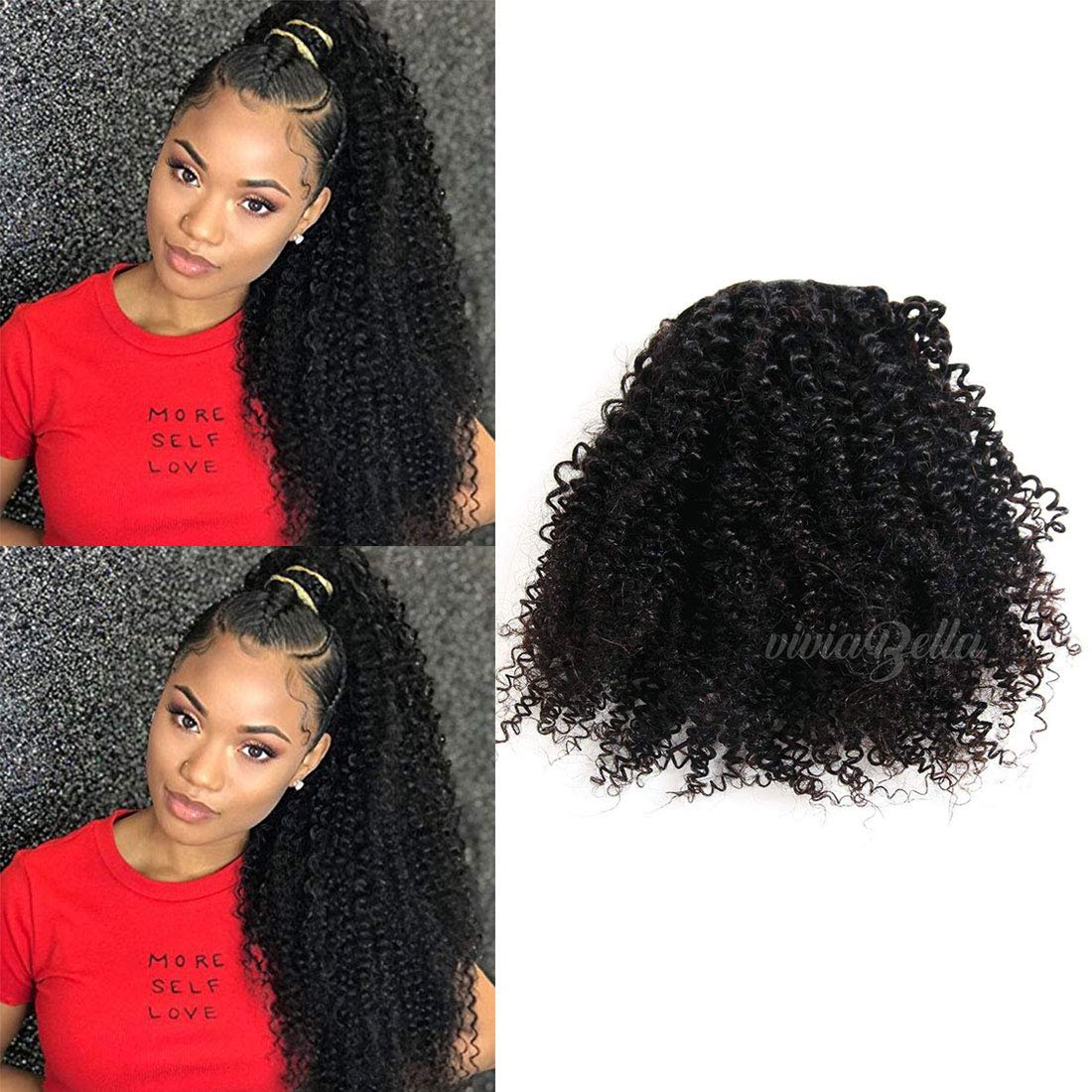 Amazon Kinky Curly Ponytail Hair Piece Clip Ins Brazilian