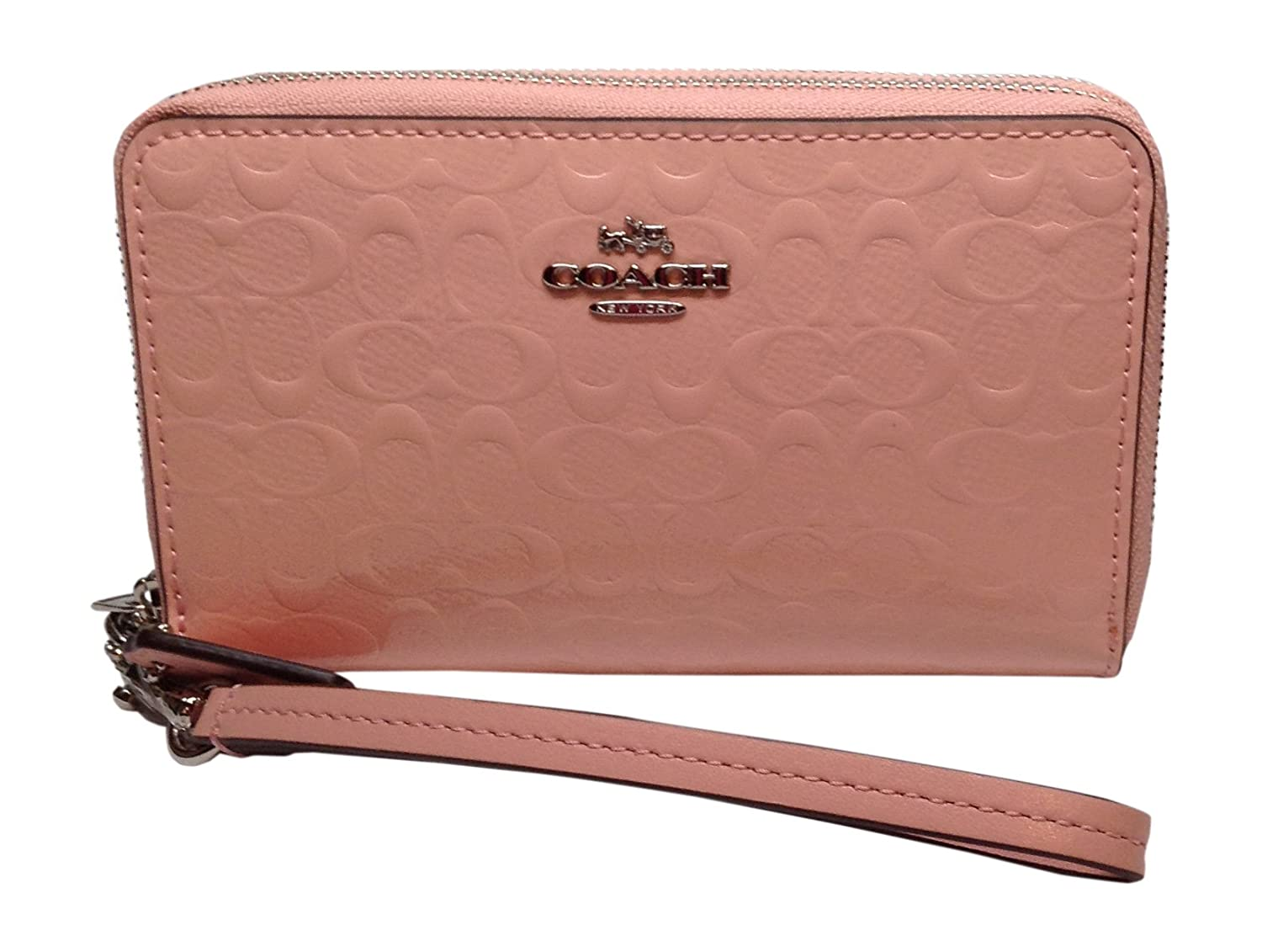 Coach Signature Double Zip Wallet Debossed Patent Leather Pink Blush 53310