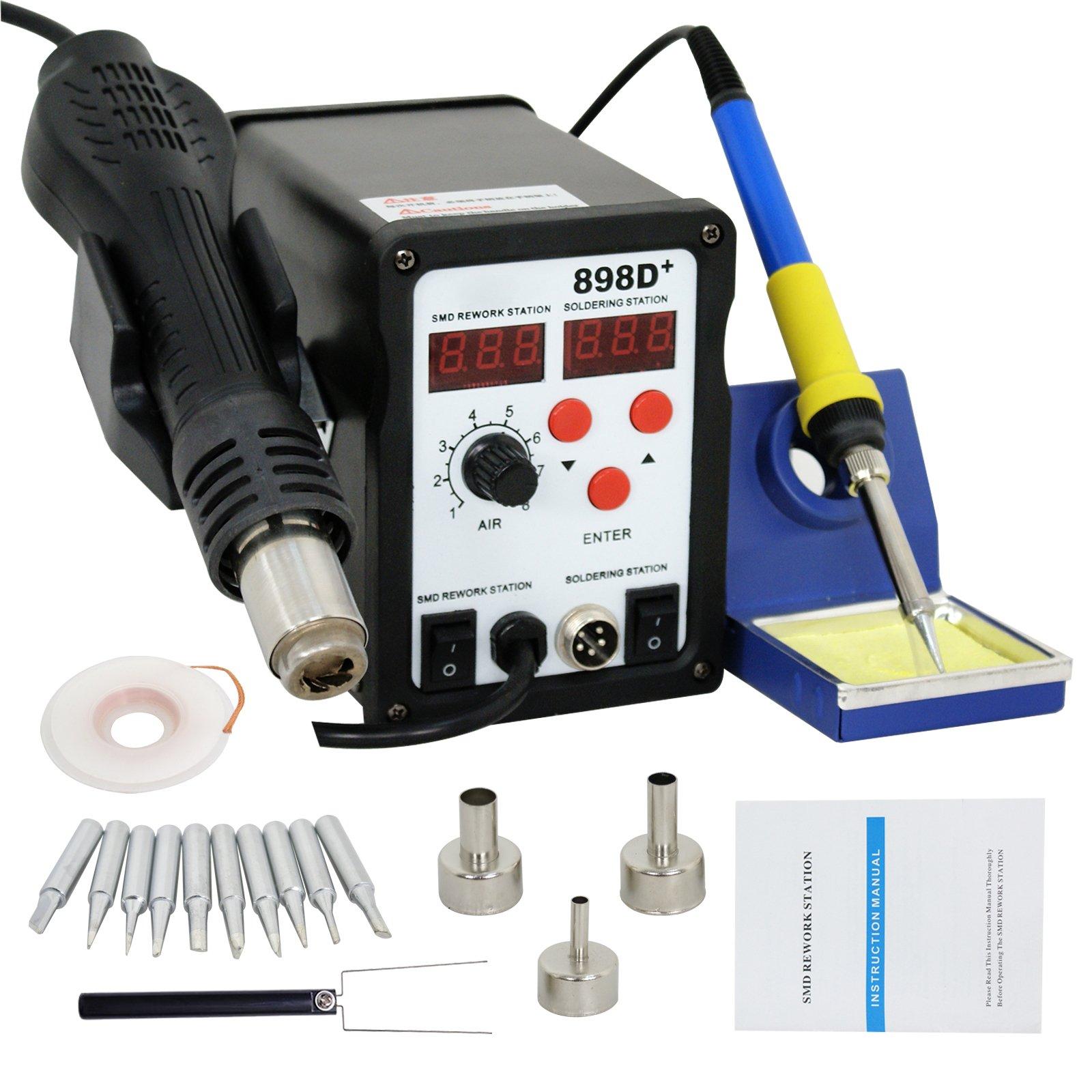 Smartxchoices 898D+ Digital Soldering Station Hot Air Rework Station SMD Desoldering Welder W/Accessories (898D+)
