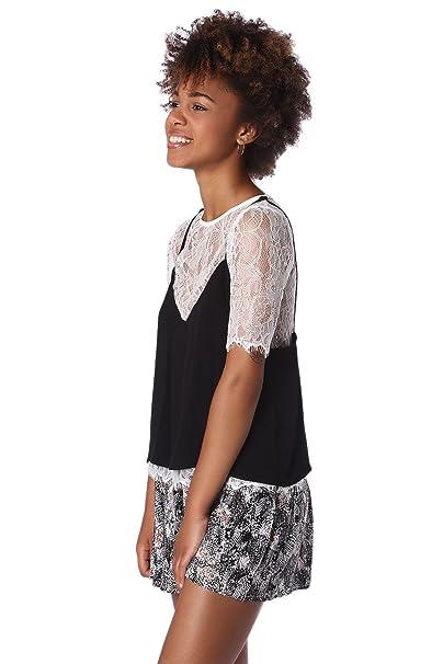 Q2 Mujer Blusa de encaje blanco con top superpuesto negro - S