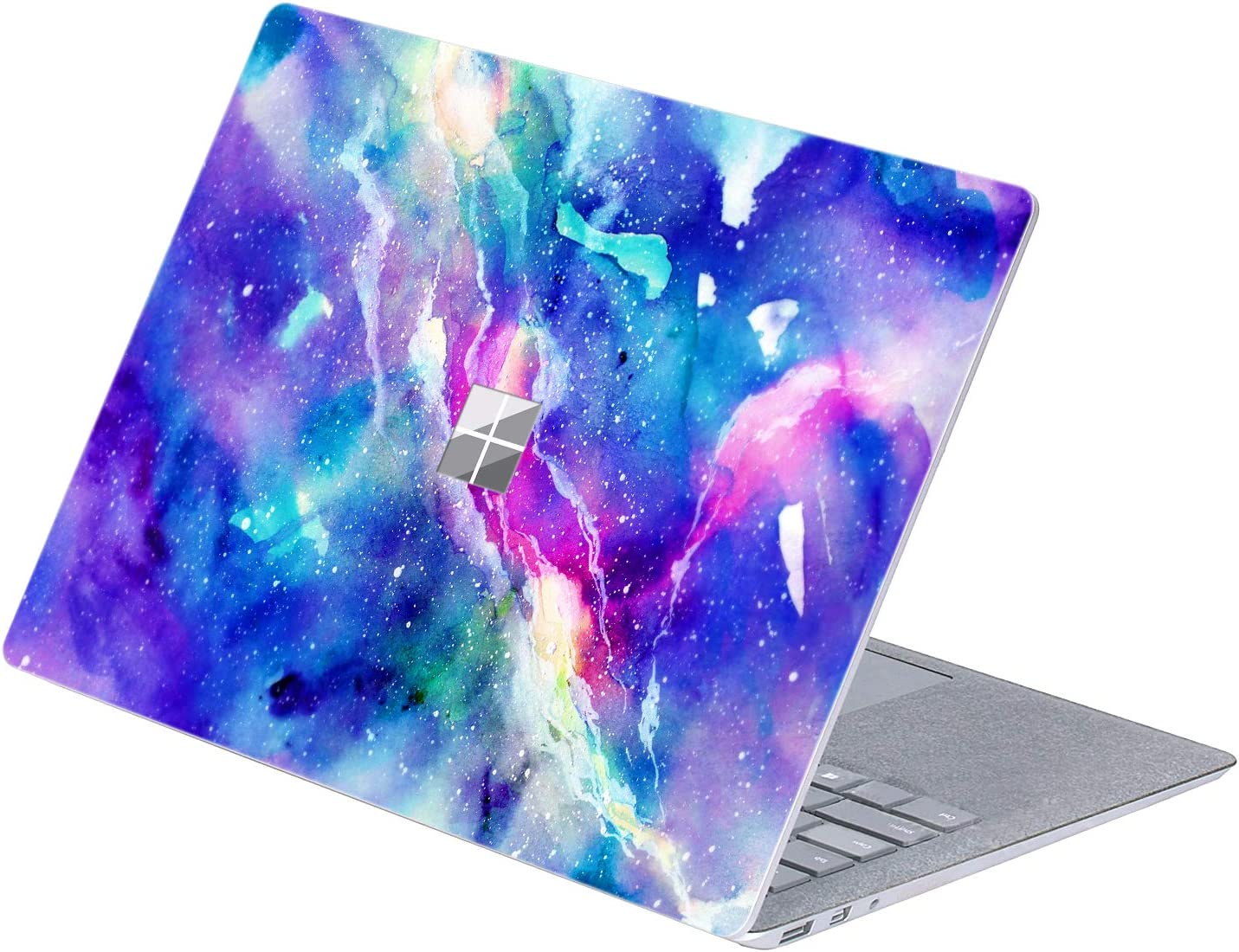 """MasiBloom Top Side Sticker Laptop Decal for 13"""" 13.5 inch Microsoft Surface Laptop 3 & 2 & 1 (2019/18/17 Released) Anti Scratch Protective Skin, Not Compatible with Surface Book(Nebula- Blue/Purple)"""